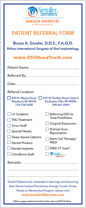 Smoler Smiles Refer a Patient Form